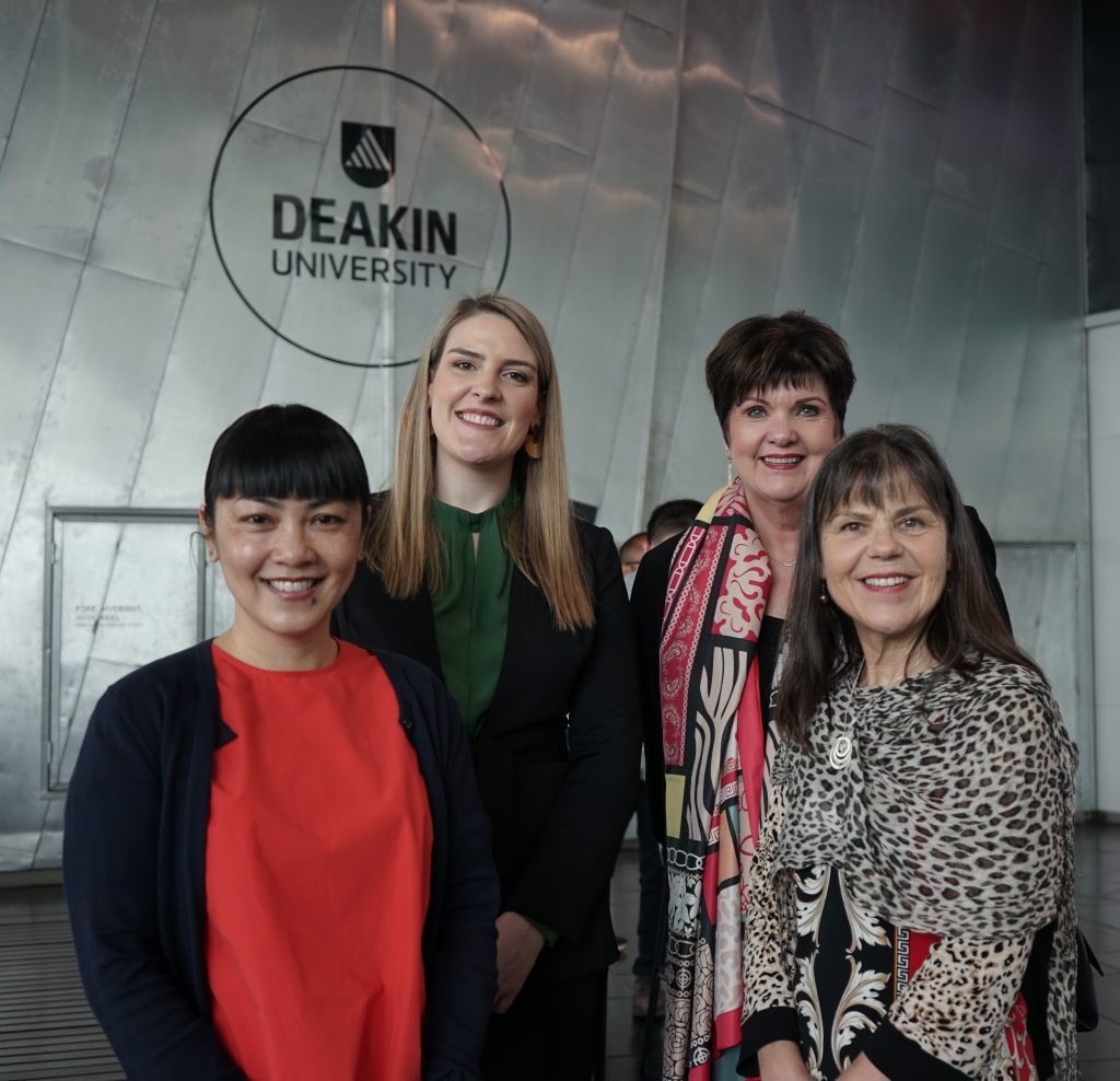 (L-R) Naomi Ngo (Chair, John Byrne Memorial), Kiera Moloney, (Philanthropic Grants Specialist, State Trustees), Therese Desmond (CEO, OC Connections), Annette Byrne-Phillips, (Secretary, John Byrne Memorial)