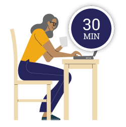 A woman sitting at a laptop working on her online will with the words 30mins above her